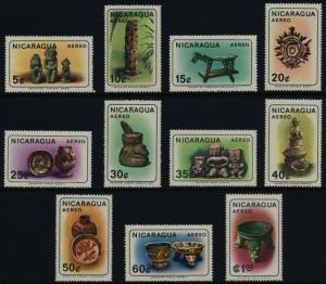 Nicaragua C563-73 MNH Antique Indian Artifacts, Art