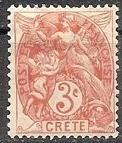 France-Off.Crete  3 1902 MH 3c Liberty,Equality & Fraternity