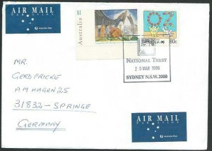 AUSTRALIA 1996 cover to Germany - nice franking - Sydney pictorial pmk.....53454