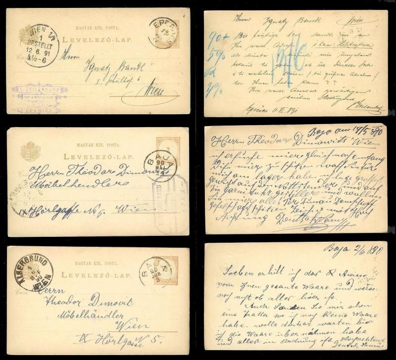 HUNGARY (60) Early Postal Cards All postally cancelled & used c1890s
