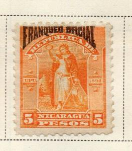 Nicaragua 1894 Early Issue Fine Mint Hinged 5P. Official Optd 323735