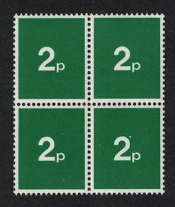 Great Britain 2 pence Experimental stamp Block of 4 1972 MNH
