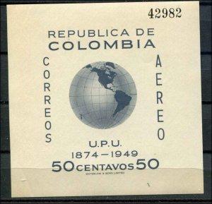 Columbia SC# C199 UPU Anniv minisheet 50c MNH