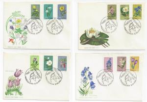 Poland FDC Lot of 4 First Day Covers Flowers Sc# 1066 - 1077