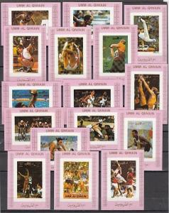 Umm Al Qiwain, Mi cat. 938-953 C. Munich Olympics on 16 Pink IMPERF s/sheets. ^