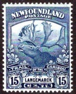 116, NSSC, Newfoundland, 15c dark blue, MLHOG, VG/F, Trail of the Caribou,S...