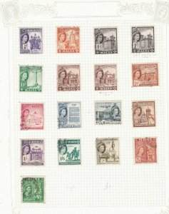 malta used stamps on 2 pages   ref r8378