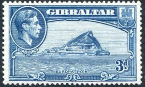GIBRALTAR-1938-51 3d Light Blue Perf 13½ Sg 125 AVERAGE MOUNTED MINT V30161