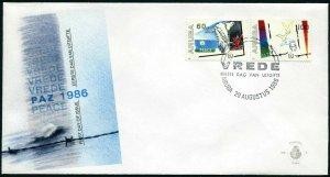 Aruba 22-23 FDC.Michel 16-17. Peace Year IPY-1986.Bird,Barbed wire.