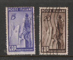Italy the used 15 & 20L from the 1949 Europe recovery set