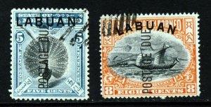 LABUAN 1901 Overprinted POSTAGE DUES SG D4 & SG D6b CTO