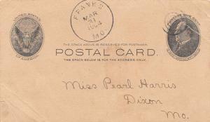 United States Missouri Franks 1904 target  1898-1954  Postal Card  Creases.