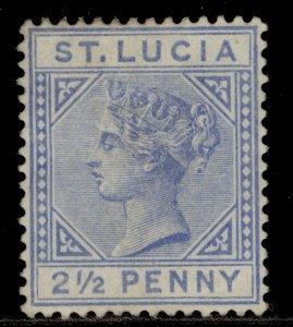 ST. LUCIA QV SG33, 2½d blue, UNUSED. Cat £75. DIE I