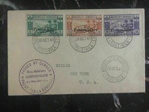 1941 Port Villa New Hebrides Censored Cover To New York Usa #67-69
