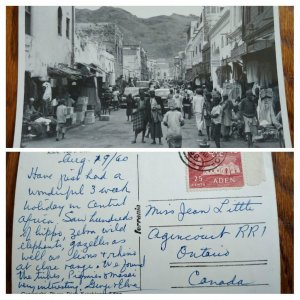 "VERY RARE ADEN 1960 POST CARD ""CRATER MARKET"" VIEW TO CANADA UNIQUE DESTINATION"