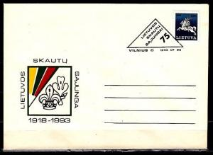 Lithuania, 1993 Agency issue. 75 years of Scouting Postal Envelope. First day. ^