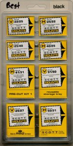 Prinz Scott Stamp Mount Assortment - BLACK  Pack of 160 (8 Sizes 20 each) PRECUT