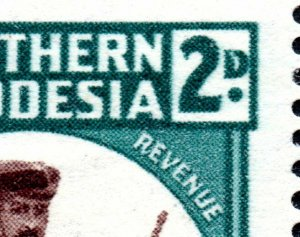 1943 Southern Rhodesia Sg61var with 9 Flaws inc Malformed 'D' Unmounted Mint