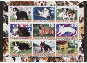 Myanmar, 2001 Local issue. Cats & Dogs sheet of 9.  Scout logo.