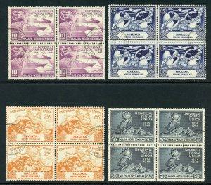 Malaya - Negri Sembilan 1949 UPU set complete VFU in blocks. SG 63-66. Sc 59-62.