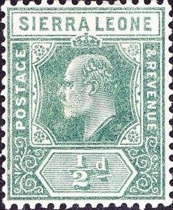 SIERRA LEONE 1907 KEDVII ½d Green SG99 MH