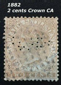 Malaya Straits Settlements 1882 QV 2c Crown CA PERFIN SG#50 M1844