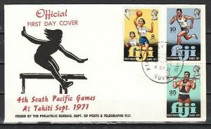 Fiji, Scott cat. 321-323. So. Pacific Games issue. First day cover.