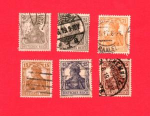 GERMANY USED SET OF 6 STAMPS SCOTT # 96 - 101