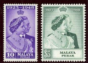 Malaya - Perak 1948 KGV Silver Wedding set complete MNH. SG 122-123. Sc 99-100.