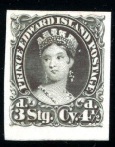 PRINCE EDWARD ISL: Sc.#10 TCP   4 1/2d. Black, Trial color Plate Proof on Ind...