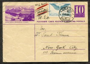 p476 - SWITZERLAND 1938 Uprated Postal Card to USA. Airmail Stamp