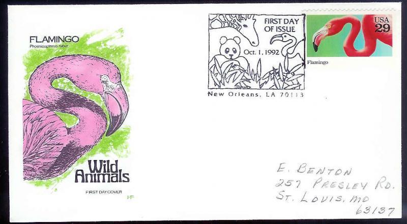 UNITED STATES FDC 29c Flamingo 1992 Farnam