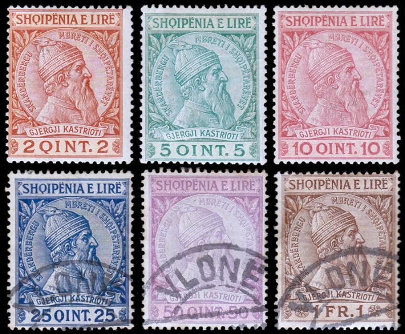 Albania Scott 35-40 (1913) Mint/Used H F-VF Complete Set, CV $38.75