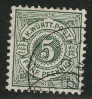 Germany State Wurttemberg Scott 59 used from 1875-1900 set