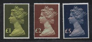 Great Britain Sc MH169, MH175-6 1977 Hi Value Machin Head stamps mint NH