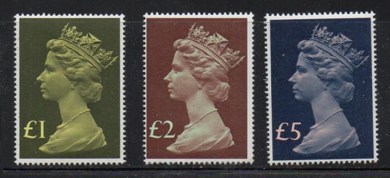 Great Britain Sc MH169, MH175-6 1977 Hi Value Machin Head stamps mint NH