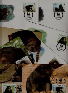 Laos 8 covers/cards WWF-94/Animals
