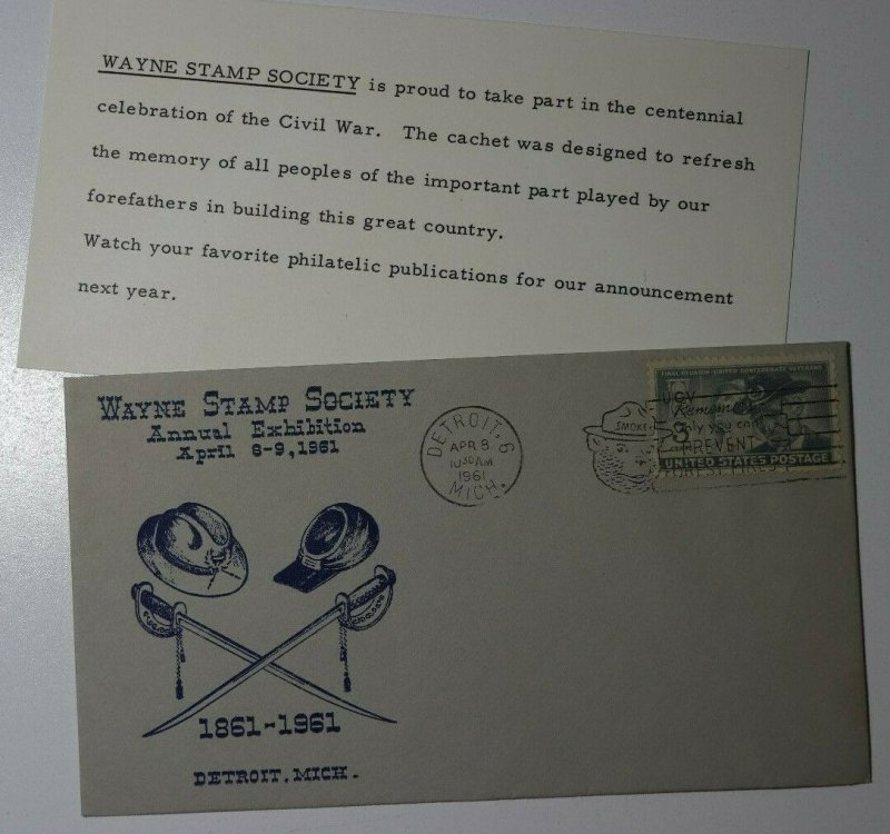 Wayne Stamp Society Exhibition Detroit MI 1961 Philatelic Expo Cachet Cover