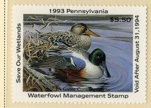 US PA11 PENN STATE DUCK STAMP 1993 MNH SCV $9.00 BIN $5.50