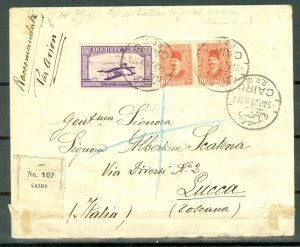 EGYPT 1929 #C1 on SCARCE REGISTERED AIR COVER TO ITALY