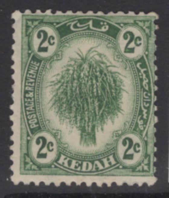 MALAYA KEDAH SG27 1921 2c DULL GREEN MTD MINT