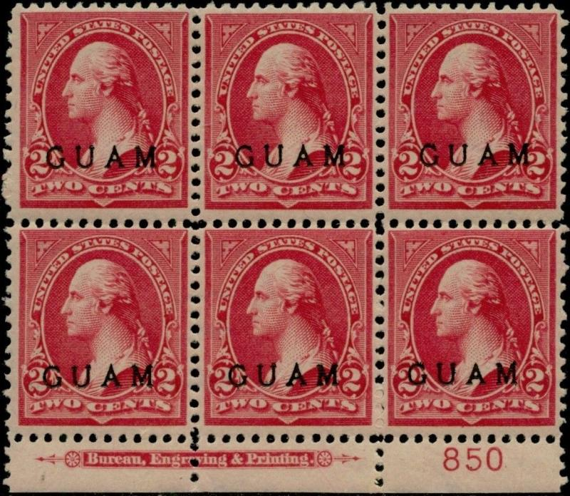 GUAM #2 VF OG NH LOWER PLATE NO BLOCK OF 6 WITH IMPRINT CV $300.00 BQ799