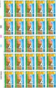 New Caledonia 1994 Sc#C261A World Cup Football USA Mini-Sheetlet (25) Unfolded
