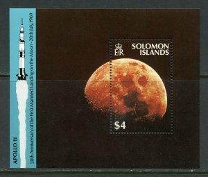 SOLOMON ISLANDS APOLLO 11 20th ANNIVERSARY OF THE MOON LANDING S/SHEET MINT NH