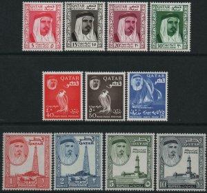 QATAR-1961 Set to 10r Sg 27-37 LIGHTLY MOUNTED MINT V40433