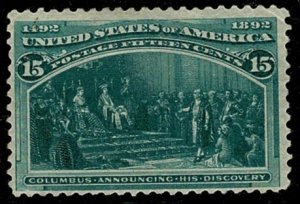 U.S.A. 1893 15c BLUE-GREEN UNUSED (MH) SG243 Wmk.none P.12 VGC