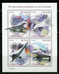 SAO TOME 2019  50th ANN OF THE FIRST FLIGHT OF CONCORDE SHEET MINT NH