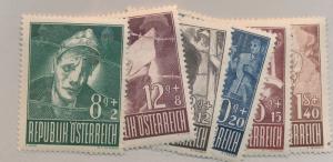 Austria Stamps Scott #B218 To B223, Mint Never Hinged - Free U.S. Shipping, F...