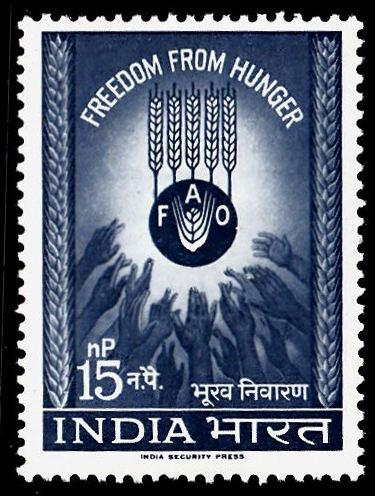 India 1963 Freedom from Hunger SG466 15n.p Grey-blue MM