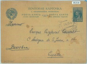 85318 - RUSSIA - Postal History - POSTAL STATIONERY CARD to SPAIN  1935